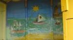 The beach hut mural