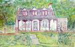 pastel sketch of cottage